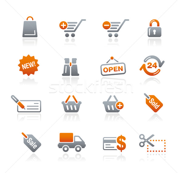 Winkelen web icons grafiet professionele iconen website Stockfoto © Palsur