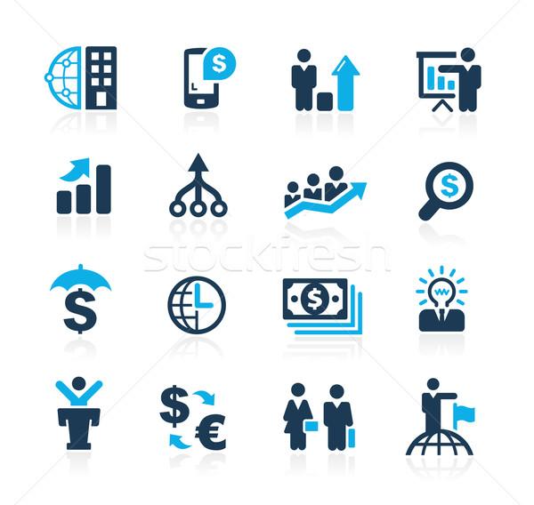 Pénzügy üzlet stratégiák azúr vektor ikonok Stock fotó © Palsur