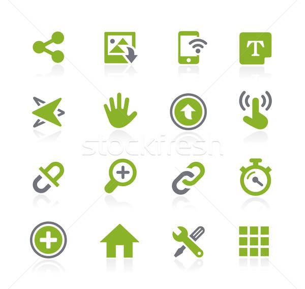 Stock fotó: Ikonok · interfész · vektor · háló · mobil · nyomtatás
