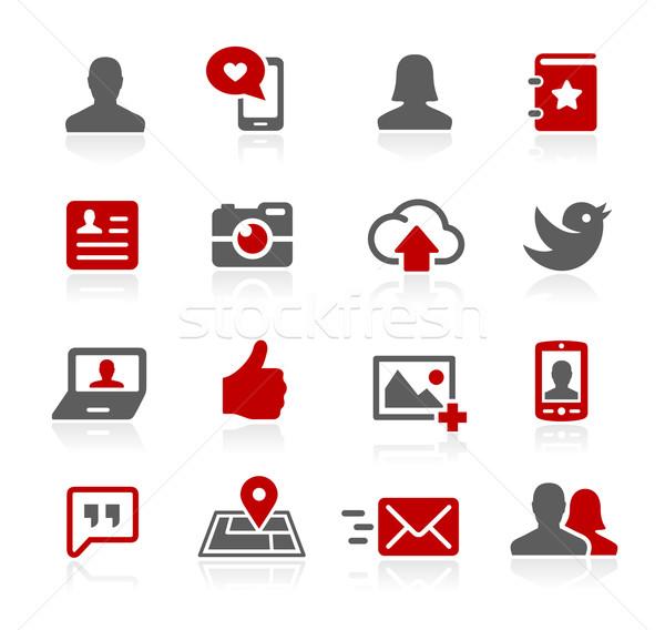 социальной веб вектора иконки цифровой печать Сток-фото © Palsur