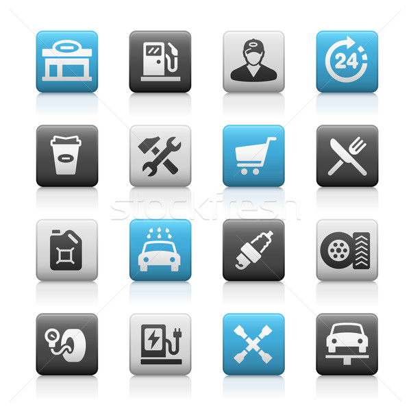Tankstation iconen mat vector web mobiele Stockfoto © Palsur
