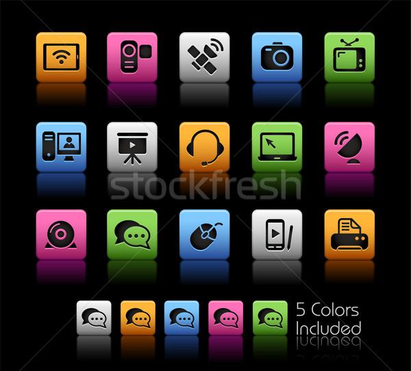 Kommunikáció ikonok szín doboz eps akta Stock fotó © Palsur