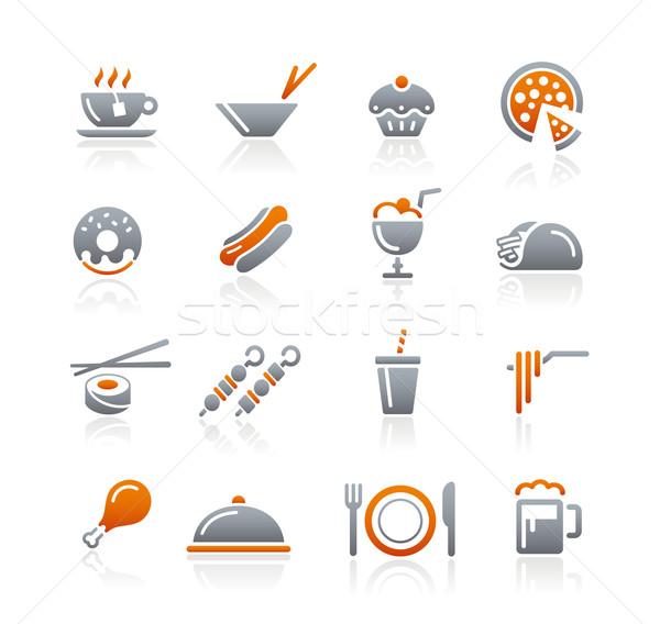Voedsel iconen grafiet vector web afdrukken Stockfoto © Palsur