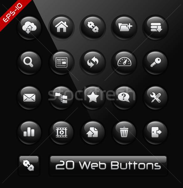 Ftp Hosting iconos negro etiqueta vector Foto stock © Palsur