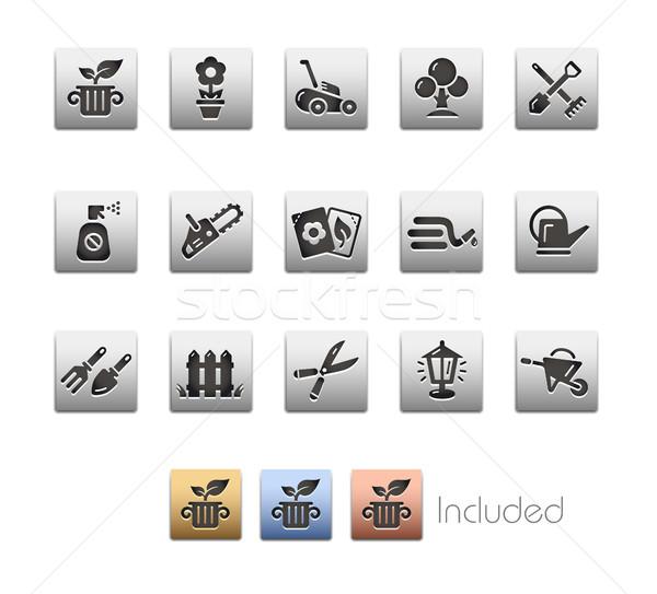 Garden and Gardening Icon set - Metalbox Series Stock photo © Palsur
