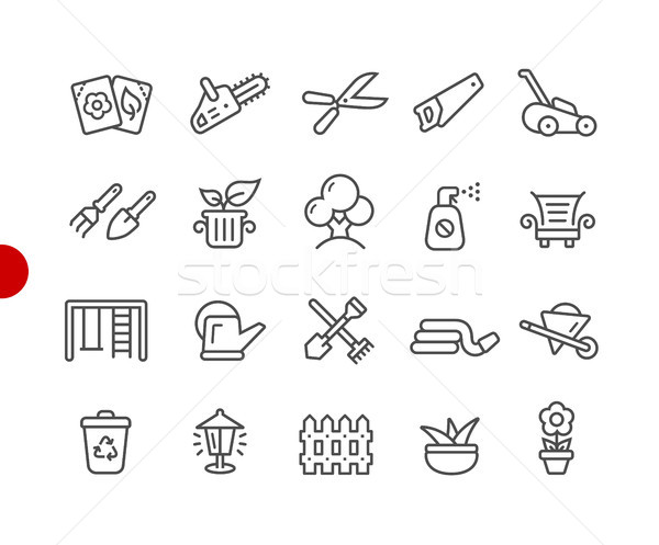 Garden and Gardening Icons // Red Point Series Stock photo © Palsur