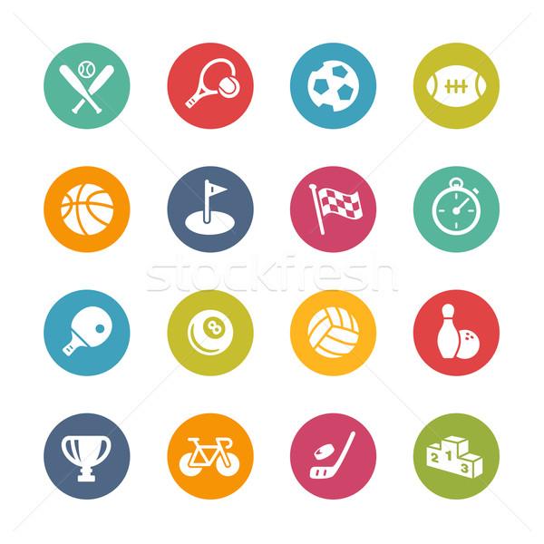 Deporte iconos frescos colores vector botones Foto stock © Palsur