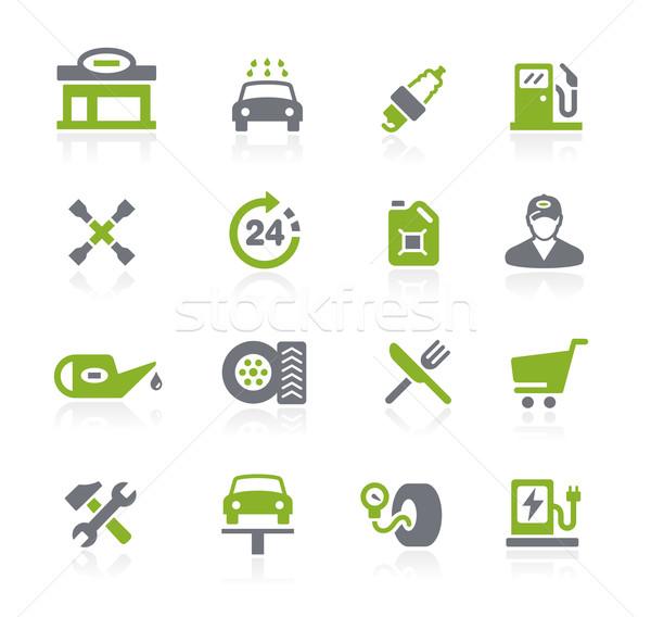 Tankstation iconen vector web mobiele afdrukken Stockfoto © Palsur