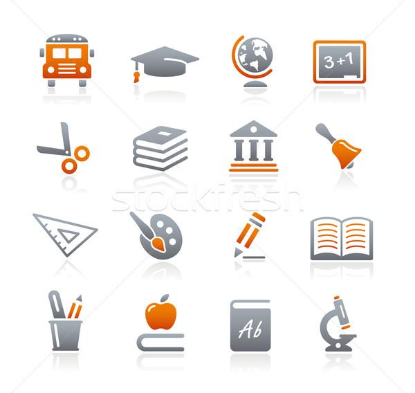 Onderwijs iconen grafiet vector web afdrukken Stockfoto © Palsur