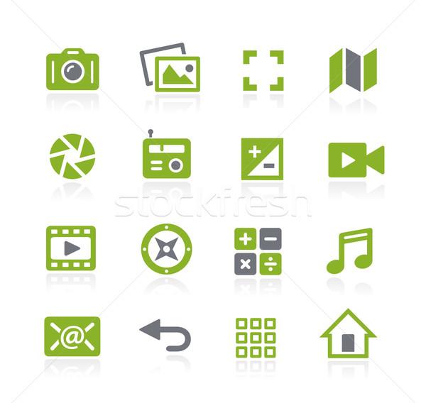 Foto stock: Mídia · interface · ícones · vetor · teia · móvel