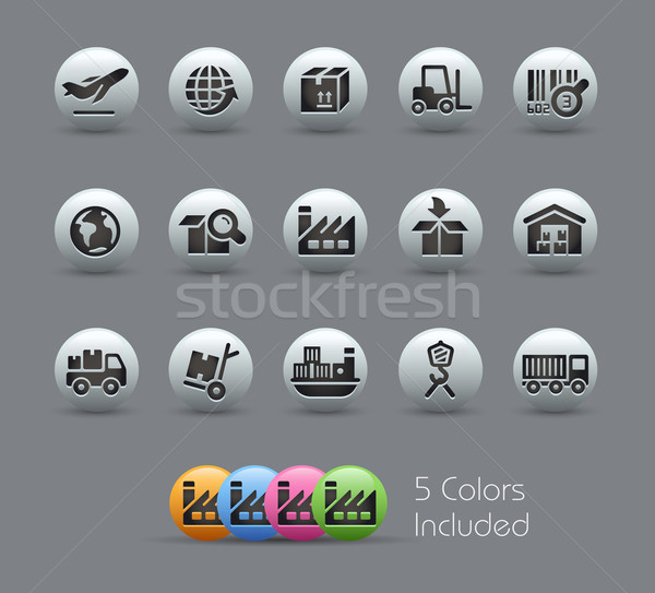 Industry and Logistics Icons -- Pearly Series Stock photo © Palsur