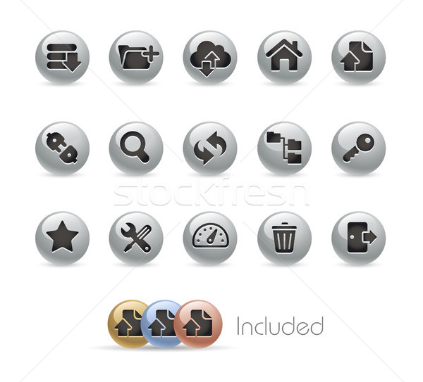 FTP & Hosting Icons -- Metal Round Series Stock photo © Palsur