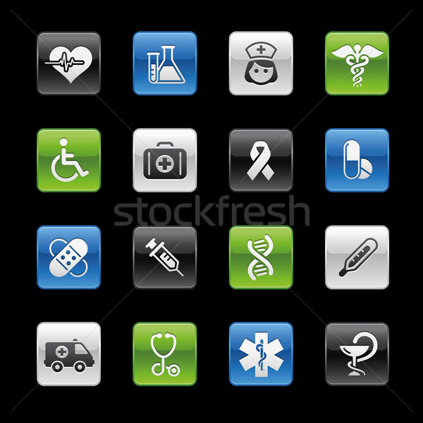 Stock fotó: Gyógyszer · törődés · profi · ikonok · weboldal · bemutató