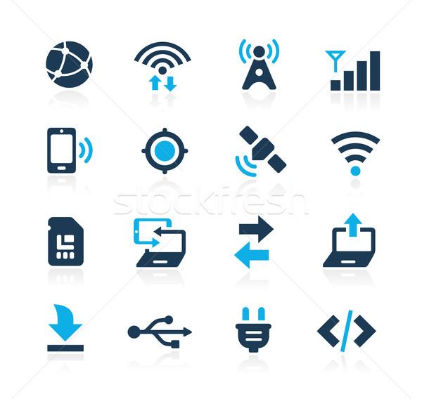 Conectividade ícones azul vetor teia móvel Foto stock © Palsur