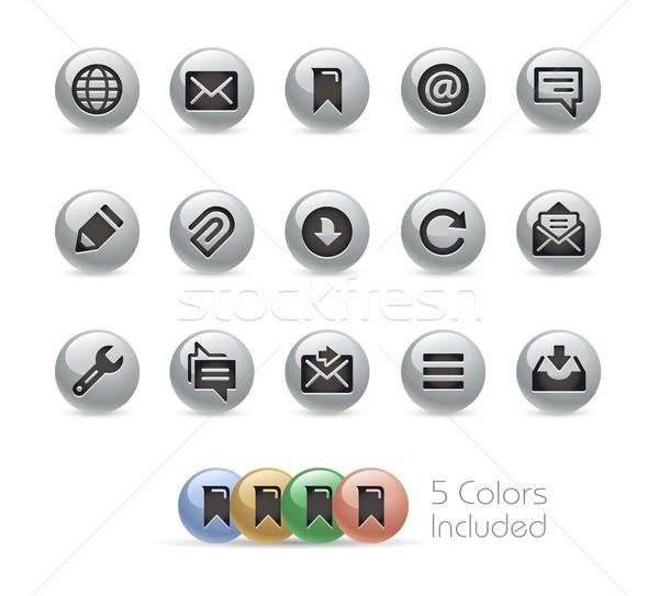 Internetowych komórkowych ikona metal wektora pliku Zdjęcia stock © Palsur