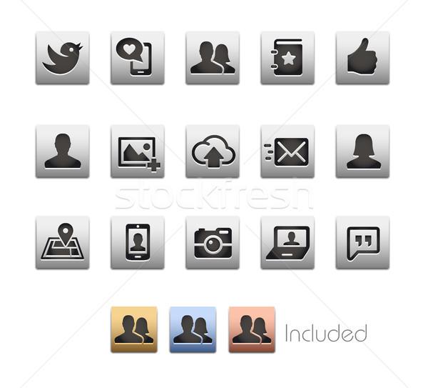 социальной веб-иконы вектора файла прибыль на акцию цвета Сток-фото © Palsur