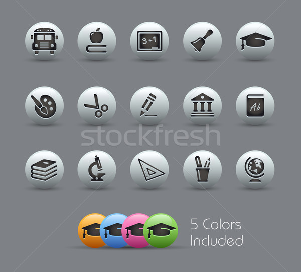 Education Icons // Pearly Serie Stock photo © Palsur