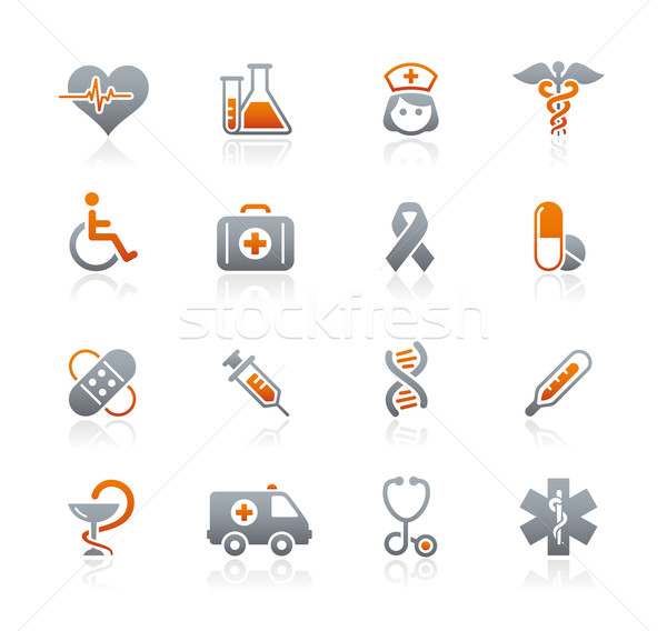 Medicine & Heath Care Icons // Graphite Series Stock photo © Palsur