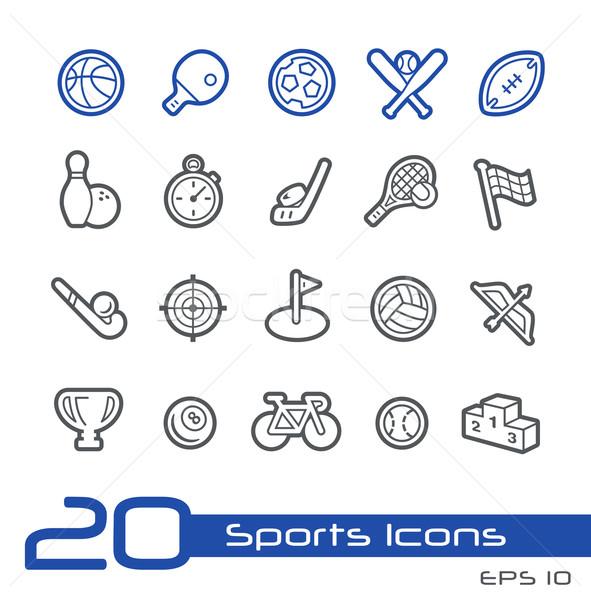 Stock fotó: Sportok · ikonok · vonal · vektor · weboldal · bemutató