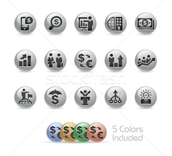 Financial Strategies Icons -- Metal Round Series Stock photo © Palsur