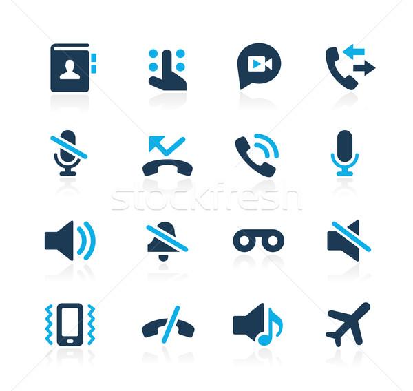 телефон интерфейс иконки лазурный вектора веб Сток-фото © Palsur