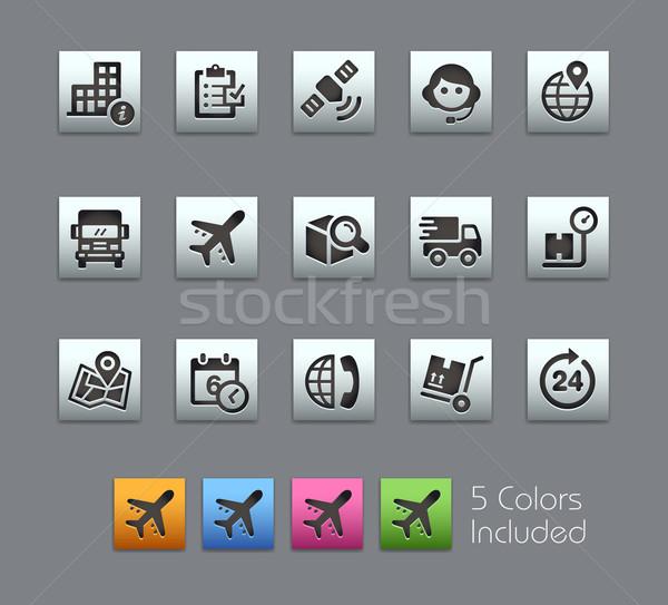 Nakliye simgeler vektör dosya renk ikon Stok fotoğraf © Palsur