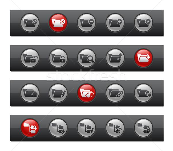 Klasör simgeler ayarlamak düğme bar vektör Stok fotoğraf © Palsur