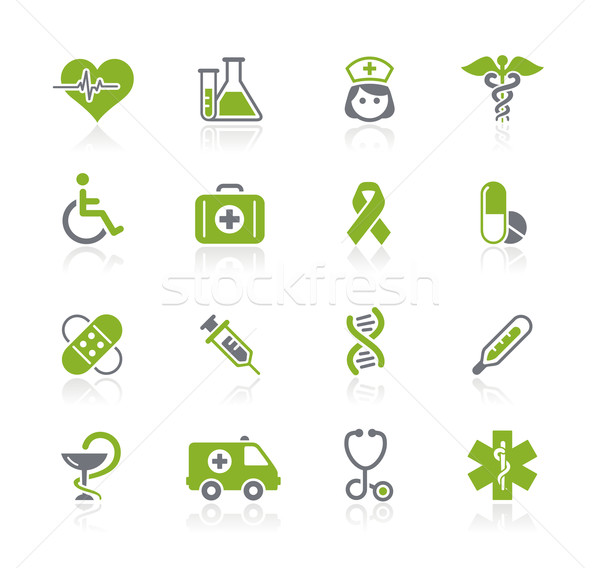 Gyógyszer törődés ikonok profi weboldal bemutató Stock fotó © Palsur