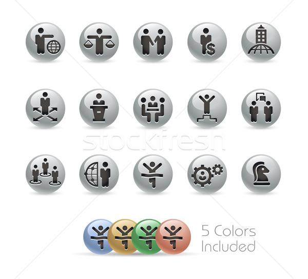Business Success Icons -- Metal Round Series Stock photo © Palsur