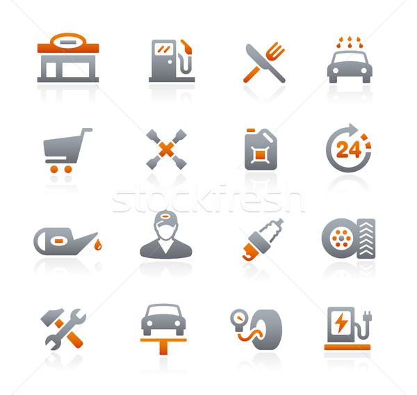 Tankstation grafiet vector iconen digitale print Stockfoto © Palsur