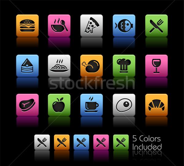 Gıda simgeler ayarlamak renk kutu eps Stok fotoğraf © Palsur