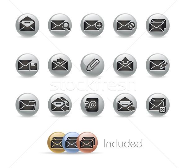 Foto stock: E-mail · ícones · metal · vetor · arquivo · eps