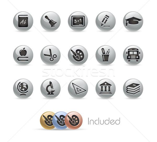 Education Icons -- Metal Round Series Stock photo © Palsur