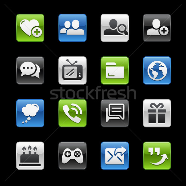 Friendly Communications Icons // GelBox Series Stock photo © Palsur