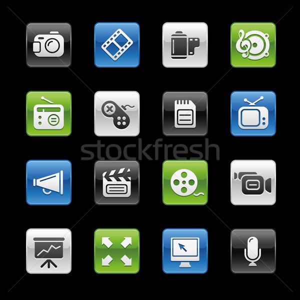 Foto stock: Multimídia · os · ícones · do · web · profissional · ícones · site · apresentação