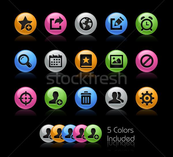 Kommunikáció interfész ikonok vektor akta szín Stock fotó © Palsur