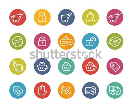 E-Shopping Icons -- Outline Button Stock photo © Palsur