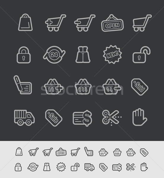 Stock photo: E-Shopping Icons -- Black Line Series
