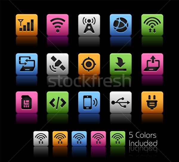 Konnektivitás ikonok vektor akta szín ikon Stock fotó © Palsur