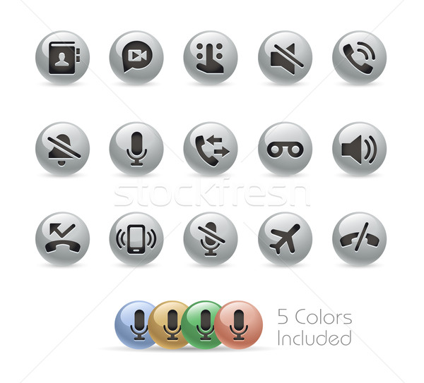 Web and Mobile Icons 1 -- Metal Round Series Stock photo © Palsur