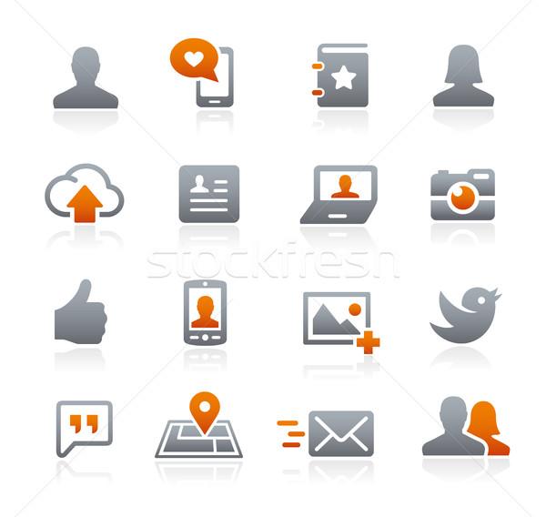 Sociale web icons grafiet vector iconen digitale Stockfoto © Palsur