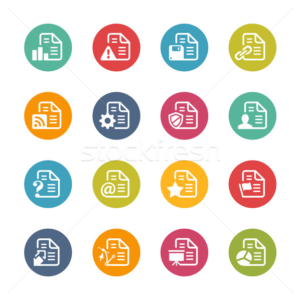 Documents Icons - 2 -- Fresh Colors Series Stock photo © Palsur