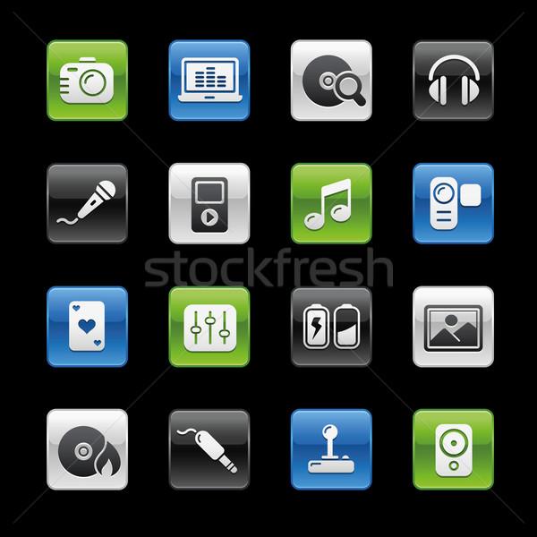 Stock fotó: Média · szórakoztatás · ikonok · profi · weboldal · bemutató