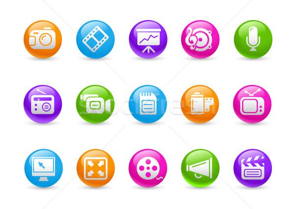 Foto stock: Multimídia · arco-íris · profissional · ícones · site · apresentação