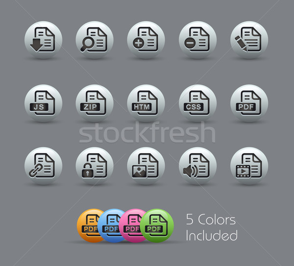 Documents Icons - 1 of 2 // Pearly Serie Stock photo © Palsur