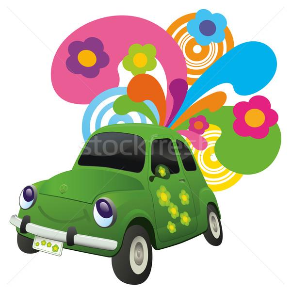 экологический автомобилей счастливым ретро-стиле цветок любви Сток-фото © Palsur