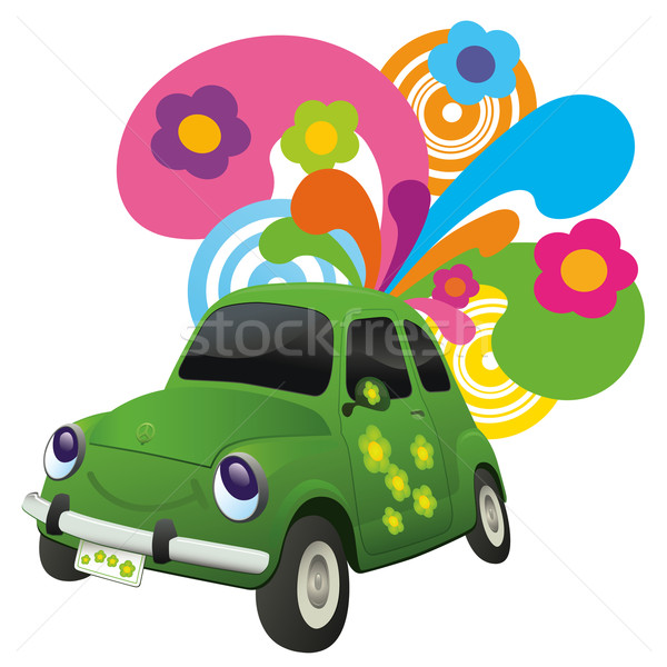 Ecológico coche feliz estilo retro flor amor Foto stock © Palsur
