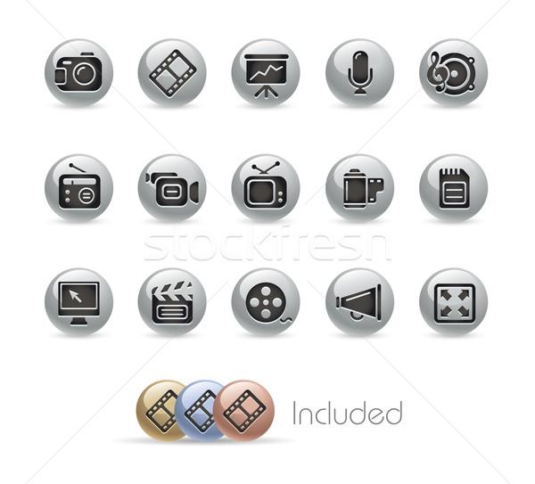 Stock fotó: Multimédia · eps · akta · szín · ikon · különböző