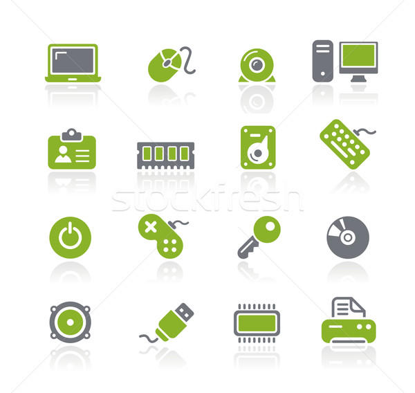 Stockfoto: Computer · iconen · professionele · website · presentatie
