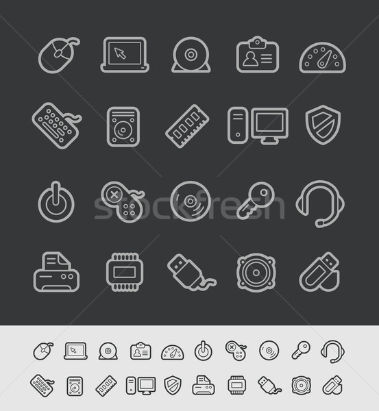Stock photo: Computer Store Icons // Black Line Series